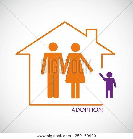 Man And Woman Adopt A Joung Boy Vector Illustration