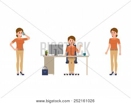 Woman At Work Cartoon Character. Talking On Phone, Sitting At The Desk, Standing Office Female Clerk