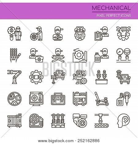 Mechanical Elements , Thin Line And Pixel Perfect Icons