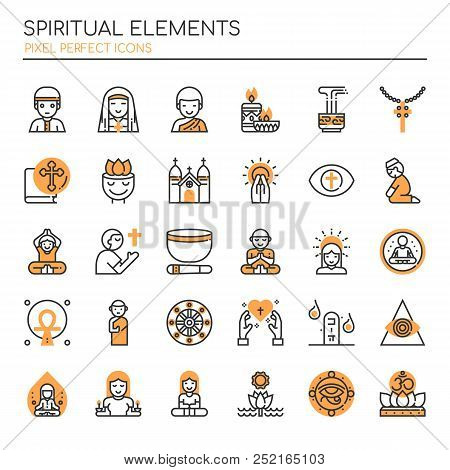Spiritual Elements , Thin Line And Pixel Perfect Icons