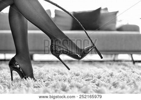 Sexy Woman In Underwear Touching High Heels By Whip Black And White, Bdsm