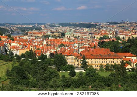 Panoramic Aerial View Of Prague, Czech Republic With Mala Strana (lesser Town) In Foreground And Old