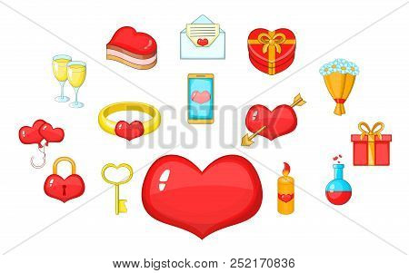 Fondness Icons Set. Cartoon Set Of 15 Fondness Vector Icons For Web Isolated On White Background