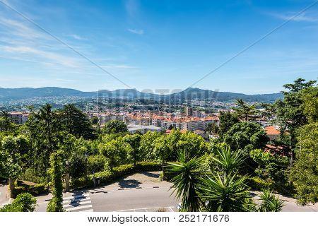 Vigo, Spain - May 20, 2017: The Beautiful City Of Vigo. View From The Park Monte Del Castro Near Rui