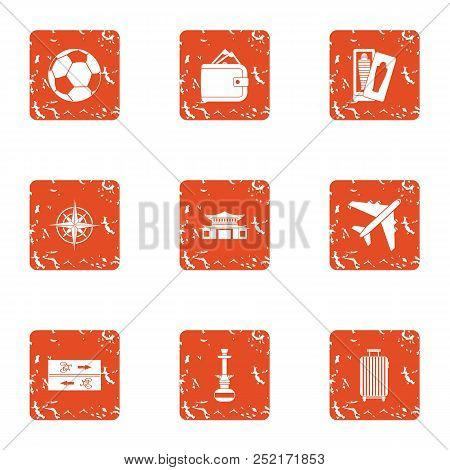 Tour Flight Icons Set. Grunge Set Of 9 Tour Flight Vector Icons For Web Isolated On White Background
