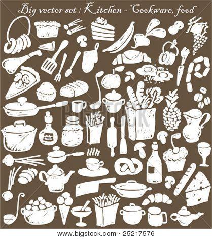 big vector set : kitchen - food, cookware