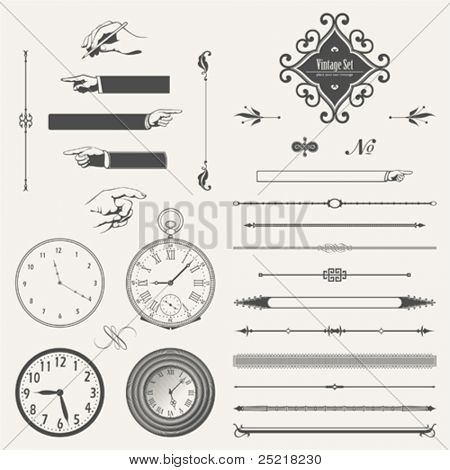 vector set: page decoration and pocket watches
