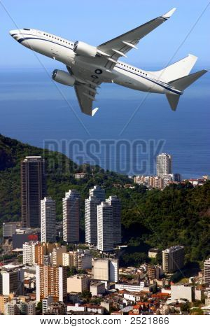 Airplane Over Ipanema Beach In Brazil
