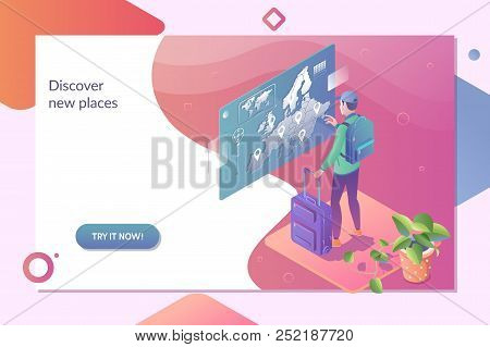 Choose Your Traveling Tour And Destination. Tourist Standing Near Tour Panels And Choosing Traveling