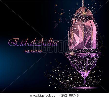 Eid Al-adha Bright Greeting Card With Traditional Arabic Lantern, Pink Color. Polygonal Art On Dark