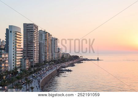 Beirut's Corniche Sea Front With High Rise Residential Buildings And Pedestrian Walkway Along The Me