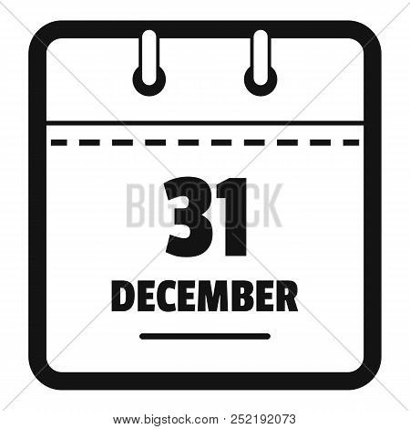 Calendar Thirty First December Icon. Simple Illustration Of Calendar Thirty First December  Icon For