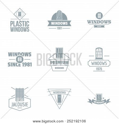 Building Window Logo Set, Simple Style For Any Design