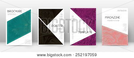 Abstract Cover. Outstanding Design Template. Suminagashi Marble Triangle Poster. Outstanding Trendy