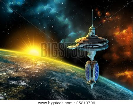 Space station over a gorgeous space panorama. Digital illustration.