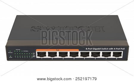 8 Port Gigabit Ethernet Switch. 3d Rendering Isolated On White Background