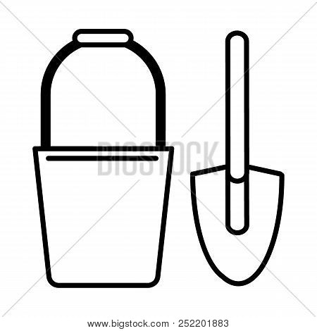 Bucket And Spade Line Icon. Vector Illustration Isolated On White. Outline Style Design, Designed Fo