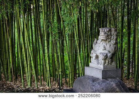 Traditional Shi Shi Dog Or Shisa Statue Or Foo Dog - Statue To Ward Off Evil And Protect In A Bamboo