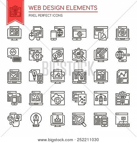 Web Design Elements , Thin Line And Pixel Perfect Icons.