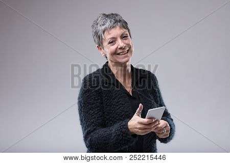 Charismatic Older Woman With A Sweet Smile