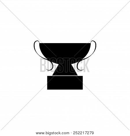 Black Cup Award Sign. Modern Symbol Of Victory, Award Achievement Sport. Insignia Ceremony Awarding