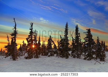 Beautiful Sunset At The Top Of The Mountain Name Is Zelenaya In The Village Of Sheregesh, Kemerovo R