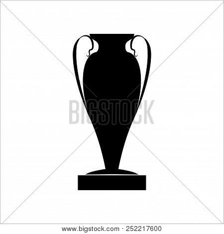 Cup Award Black Silhouette. Modern Symbol Of Victory, Award Achievement Sport. Insignia Ceremony Awa