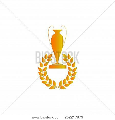 Gold Cup And Laurel Award. Modern Symbol Of Victory, Award Achievement Sport. Insignia Ceremony Awar