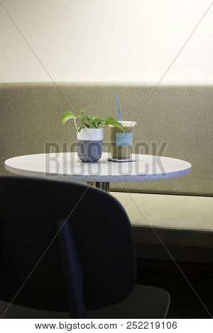 Iced Milk Coffee On The Table, Stock Photo