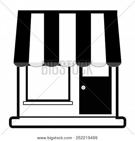 Store Facade With Sunshade In Black Silhouette. Store Icon On White Background. Shop Web Sign. Flat