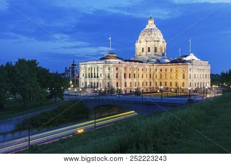 Minnesota State Capitol  Building In St. Paul. St. Paul, Minnesota, Usa.
