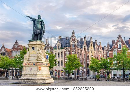 Ghent,belgium - May 21,2018 - At The Vrijdagmarkt Place Of Ghent. Ghent Is A City And A Municipality