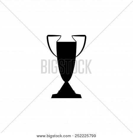Black Cup Award Sign On White Background. Modern Symbol Of Victory And Award Achievement Champion. L