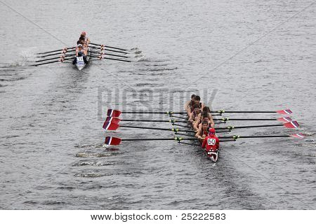 BOSTON - OCTOBER 23: Fairport Crew Club youth men's Eights races in the Head of Charles Regatta. Mar