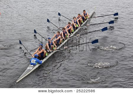 BOSTON - OCTOBER 23: Annapolis Juniors Crew youth men's Eights races in the Head of Charles Regatta.