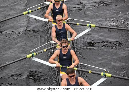 BOSTON - OCTOBER 23: Newport Aquatic Center youth men's Eights races in the Head of Charles Regatta.