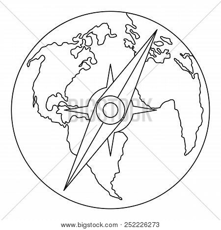 Compass On Earth Icon. Outline Illustration Of Compass On Earth  Icon For Web