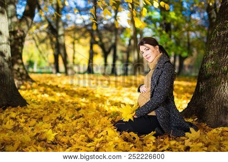 Portrait Of Happy Pregnant Woman Sitting In Autumn Park