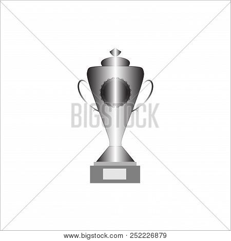 Silver Cup Award Sign. Modern Symbol Of Victory, Award Achievement Sport. Insignia Ceremony Awarding