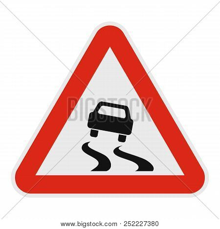 Car On Dangerous Roadside Icon. Flat Illustration Of Car On Dangerous Road  Icon For Web.