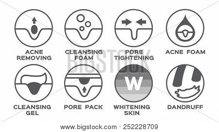 skin icon vector / acne removing pore tightening cleansing foam gel pack whitening dandruff poster