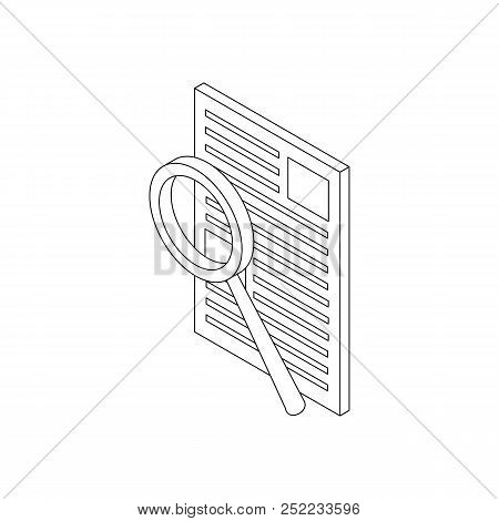 Magnifier Search Document Icon In Isometric 3d Style Isolated On White Background