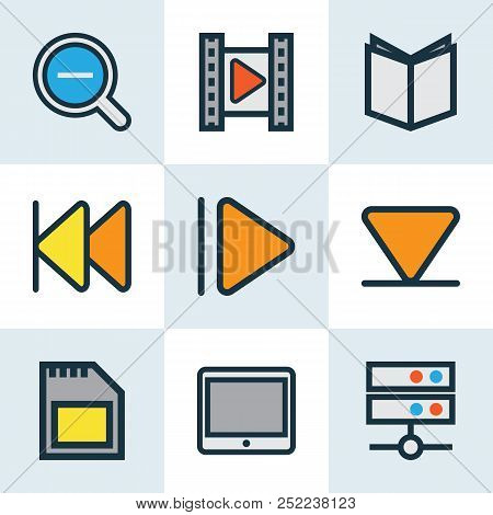 Music Icons Colored Line Set With Upward, Arrow Down, Cinema And Other Bottom Elements. Isolated Vec