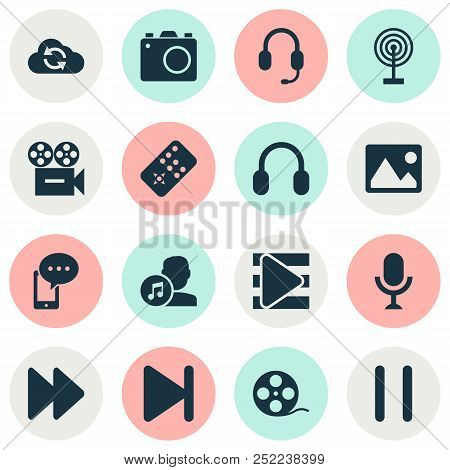 Media Icons Set With Image, Earphone, Synchronize And Other Picture Elements. Isolated Vector Illust