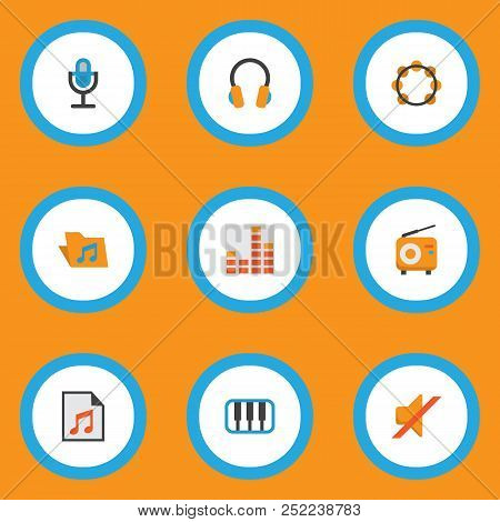 Music Icons Flat Style Set With Archive, Synthesizer, Frequency And Other Ear Muffs Elements. Isolat