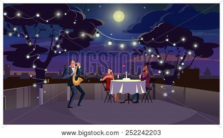 Couple At Romantic Dinner Vector Illustration. Lovers Sitting At Table And Listening To Saxophone Pl