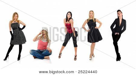 Group Of Beautiful Elegant Woman And One Crazy Girl Sitting