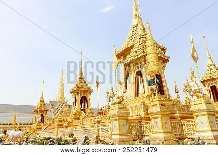 Bangkok, Thailand - November 04, 2017; Golden Of The Royal Crematorium For King Bhumibol Adulyadej