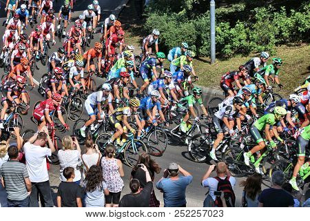 Bytom, Poland - July 13, 2016: Professional Cyclists Ride In Peloton Of Tour De Pologne Bicycle Race