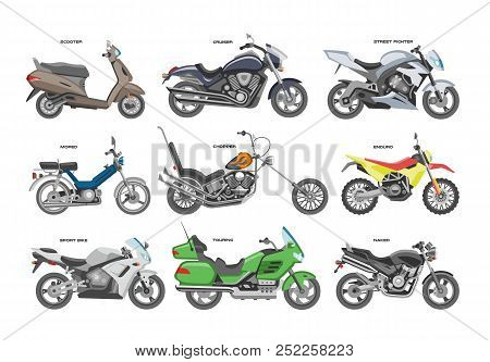 Motorcycle Vector Motorbike Or Chopper And Motoring Cycle Ride Transport Illustration Motorcycling S